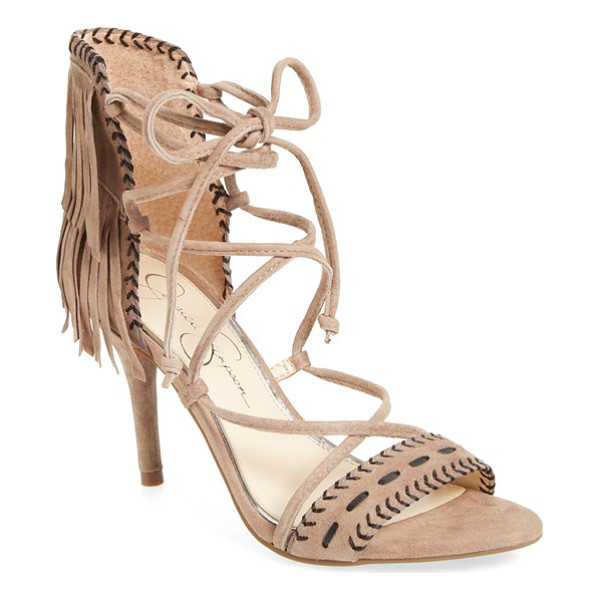 JESSICA SIMPSON 'mareya' fringe ankle tie sandal - Contrasting topstitching and layers of fringe at the heel...