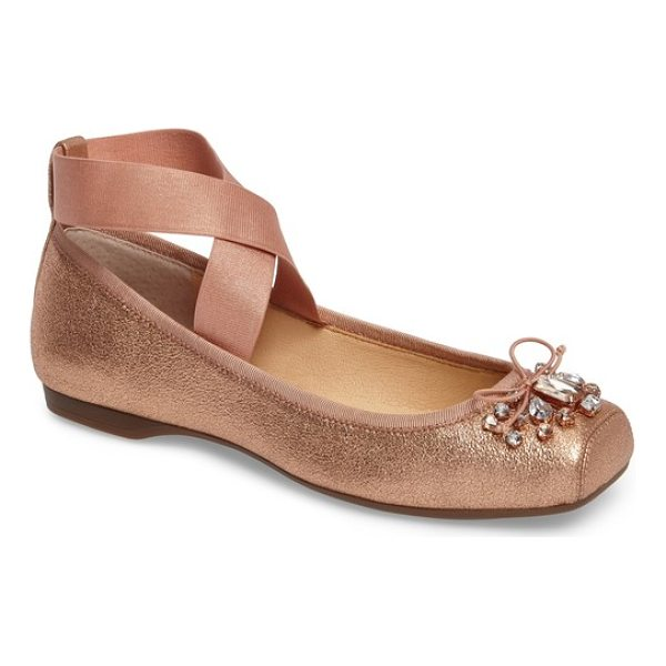 JESSICA SIMPSON miaha embellished blunt toe flat - Shimmery fabric and brilliant crystals bring sparkle and...