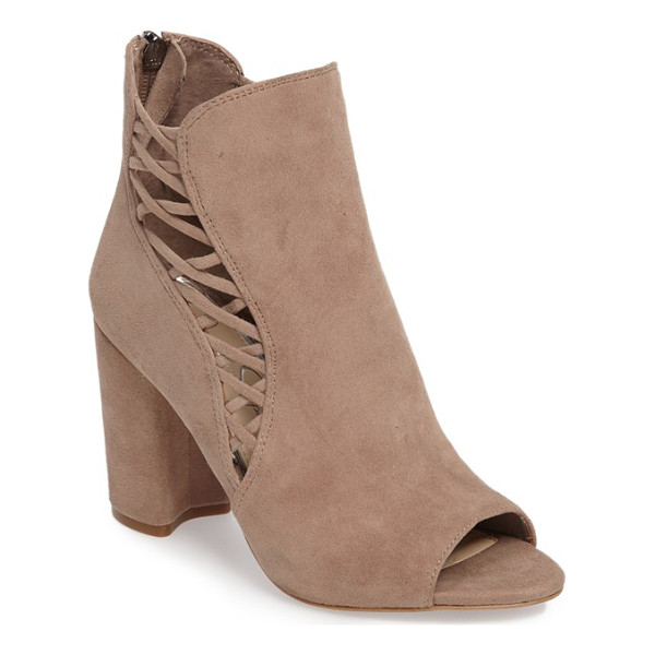 JESSICA SIMPSON millo open toe bootie - Slender suede lacing crisscrosses up the split shaft of an