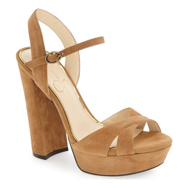 JESSICA SIMPSON 'naidine' platform sandal - A towering heel and chunky platform further the retro