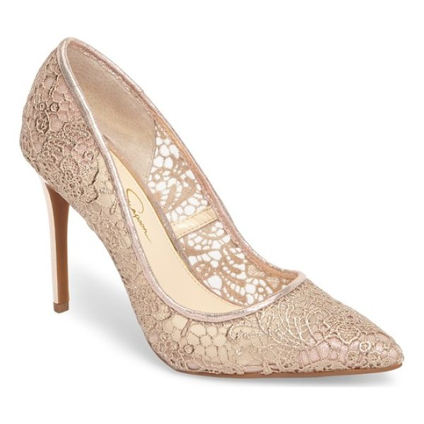 JESSICA SIMPSON praylee2 paisley lace pump - Paisley-patterned Alencon lace wraps a pointy-toe pump in...