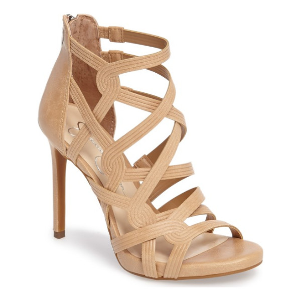 JESSICA SIMPSON rainah sandal - Cord-embossed cage straps corset your foot in a sky-high...
