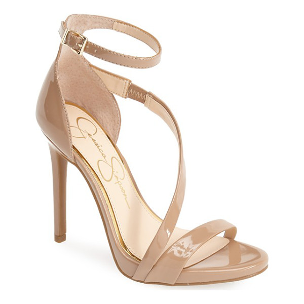 JESSICA SIMPSON rayli patent ankle strap sandal - Liquid-shine patent highlights the feminine, curved lines...