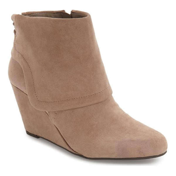 JESSICA SIMPSON 'reaca' cuffed wedge bootie - An oversized turned-down cuff with lacing up the back...