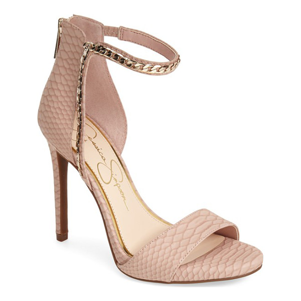JESSICA SIMPSON redith chain embellished sandal - Tonal chain trim traces the asymmetrical ankle strap of a...