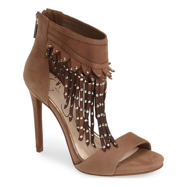 JESSICA SIMPSON reiko studded fringe sandal - Polished dome studs weight the swingy fringe that defines a...