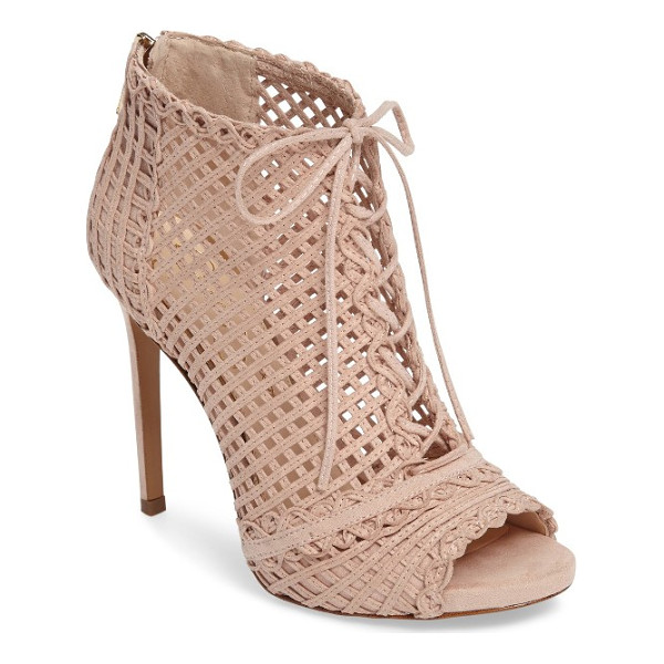 JESSICA SIMPSON rendy latticework peep toe bootie - Intricate latticework adds dramatic texture to a...