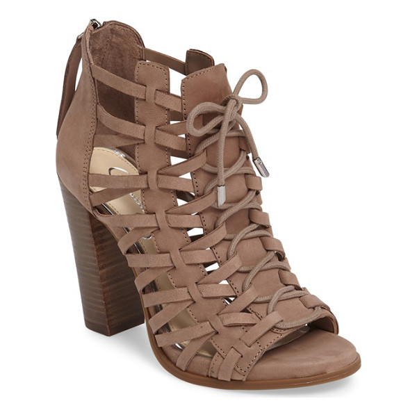 JESSICA SIMPSON riana woven leather cage sandal - Intricately woven leather straps and ghillie-style lacing...