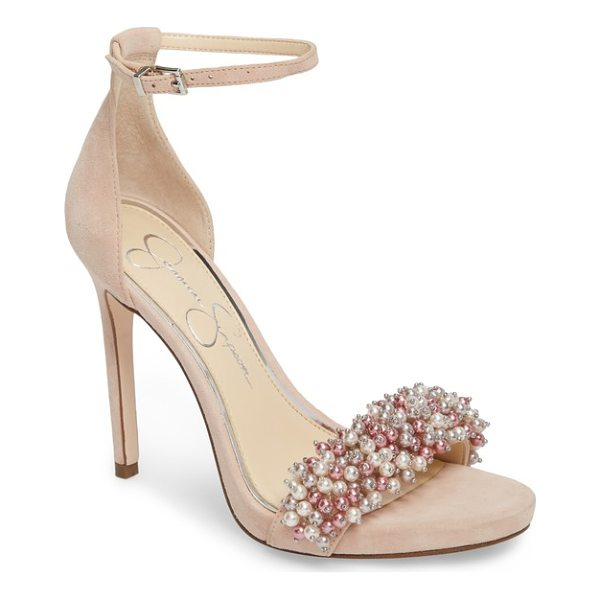 JESSICA SIMPSON rusley imitation pearl sandal - Dense clusters of imitation pearls crowd the toe strap of a...