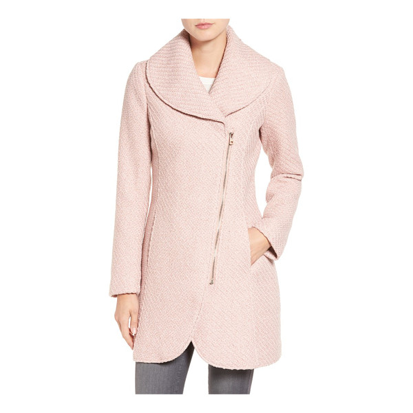 JESSICA SIMPSON shawl collar coat - A rounded shawl collar tops this figure-flattering woolen...