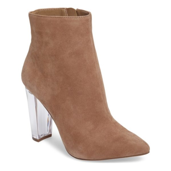 JESSICA SIMPSON teddi crescent-heel bootie - A lightly tapered crescent heel adds towering lift to a...