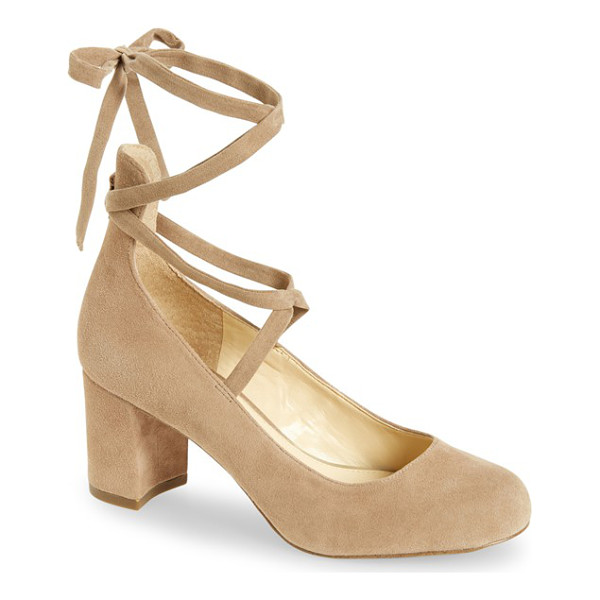 JESSICA SIMPSON venya wraparound pump - A round-toe suede pump on a wrapped block heel sets the
