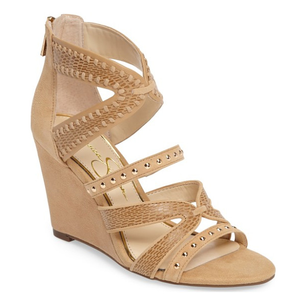 JESSICA SIMPSON zenolia strappy embellished wedge - Studded and mixed-finish straps add casual appeal from toe...