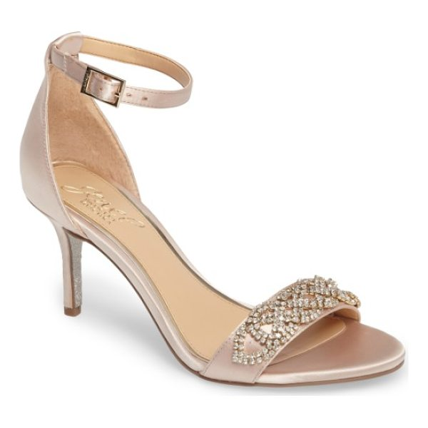 JEWEL BADGLEY MISCHKA alana ankle strap sandal - Glittering placed crystals embellish a lustrous satin...