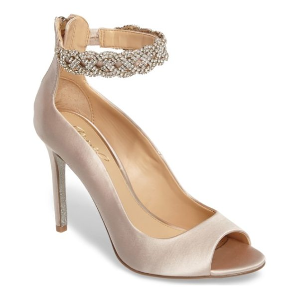 JEWEL BADGLEY MISCHKA alanis embellished ankle strap pump - An event-ready peep-toe pump perfect for dancing the night...