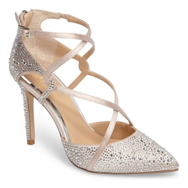 JEWEL BADGLEY MISCHKA alivia ii strappy pump - Tonal crystals dazzle and catch the light on a pointy-toe...