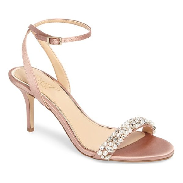 JEWEL BADGLEY MISCHKA jewel by badgley mischka theodora ankle strap sandal - Sparkling crystals and imitation-pearl beads embellish the...