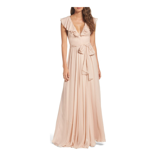JILL JILL STUART ruffle chiffon gown - Softly romantic in front with an unexpected strappy back,...
