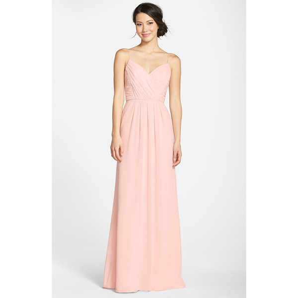 JIM HJELM OCCASIONS draped v-neck a-line chiffon gown - Soft pleats drape the surplice bodice and floor-skimming...
