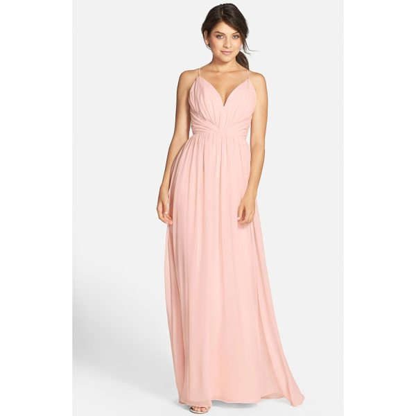 JIM HJELM OCCASIONS draped v-neck chiffon gown - Angled panels nip the waist at the decollete bodice of a...