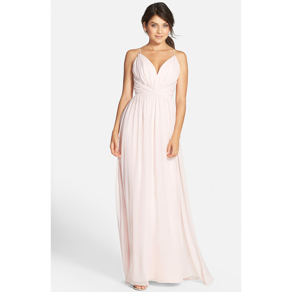 JIM HJELM OCCASIONS draped v-neck chiffon gown - Soft draping and gentle gathers shape the sweetheart bodice...