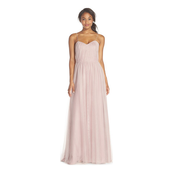 JIM HJELM OCCASIONS dropped back pleat english net a-line gown - An ethereal and romantic gown is crafted from finely...