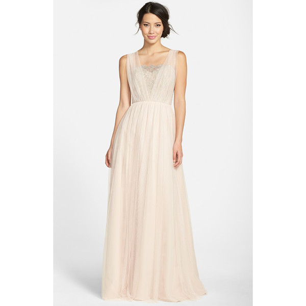 JIM HJELM OCCASIONS metallic lace & net a-line gown - Shimmering silvery lace wraps moonlight gleam around the...