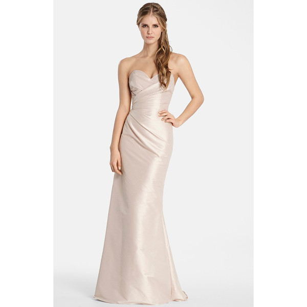 JIM HJELM OCCASIONS hayley paige occasions strapless dupioni sweetheart trumpet gown - Expert pleating drapes and sculpts a luminous dupioni gown,...