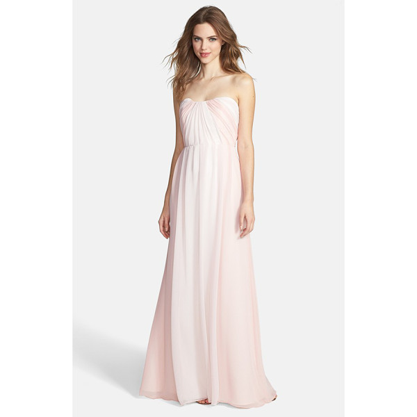 JIM HJELM OCCASIONS two-tone pleat chiffon gown - Color-contrast panels beautifully frame a flowing...
