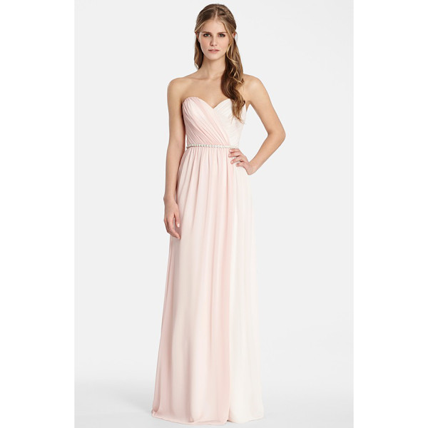 JIM HJELM OCCASIONS two tone strapless chiffon gown - Soft draping and gentle gathers shape the sweetheart bodice...