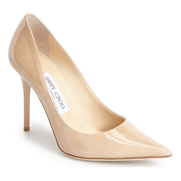 JIMMY CHOO abel pointy toe pump - A slender stiletto heel lifts a graceful patent-leather...