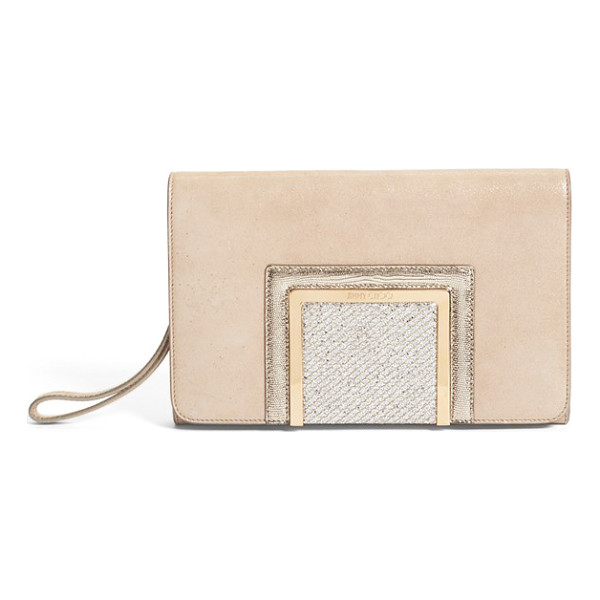JIMMY CHOO Alara glitter suede clutch - Logo-etched hardware lends a touch of signature glamour to...