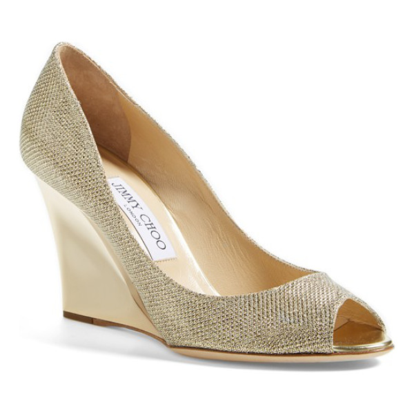 JIMMY CHOO baxen wedge pump - A sculpted wedge cast in polished metal lifts a glittering...