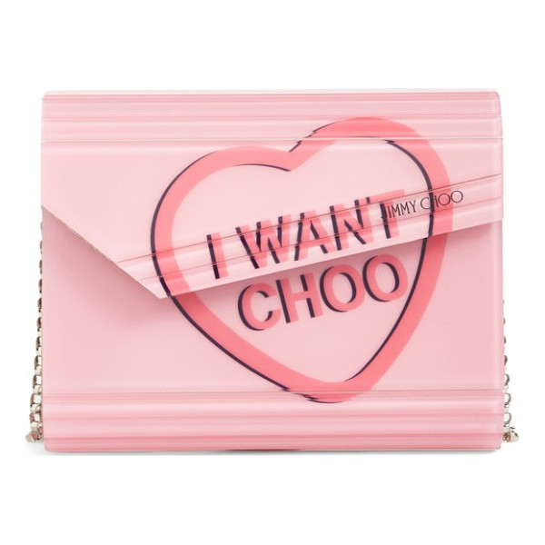 JIMMY CHOO candy love heart clutch - An iconic clutch channels nostalgic glamour with a logo...