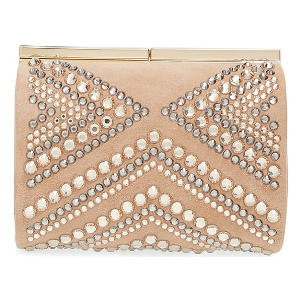 JIMMY CHOO Cate crystal embellished minaudiere - Mixed-scale crystals in warm, neutral hues lend Art-Deco...