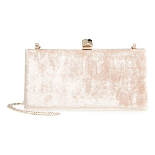 JIMMY CHOO celeste crushed velvet clutch - A geometric, crystal-embellished clasp punctuates this...