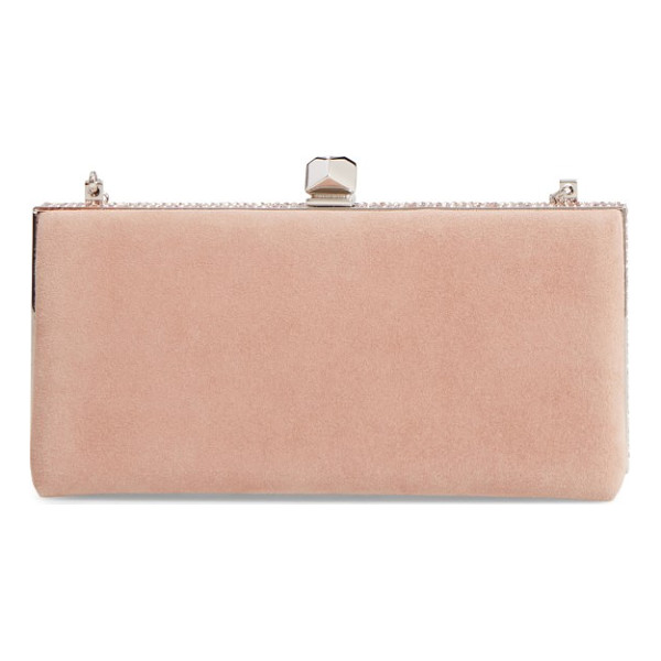 JIMMY CHOO celeste suede clutch - Glimmering crystals illuminate the clean, classic profile...