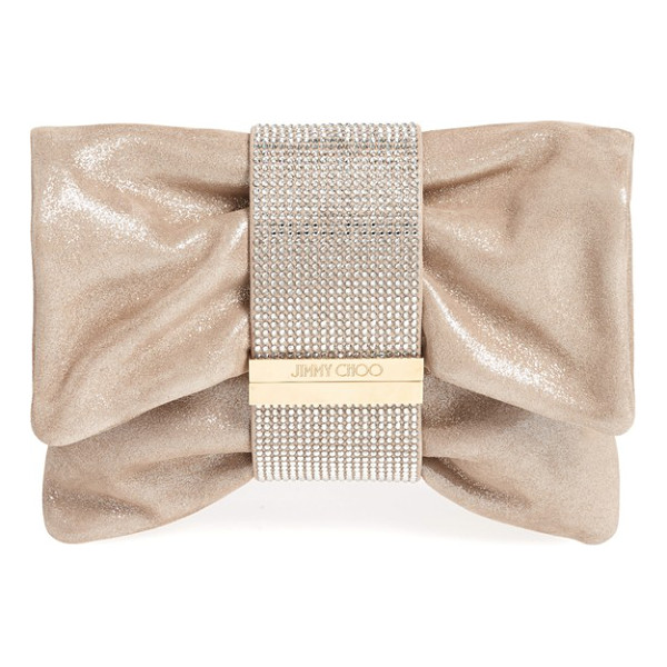 JIMMY CHOO Chandra shimmer suede clutch - An enviable clutch crafted in shimmery metallic suede is...