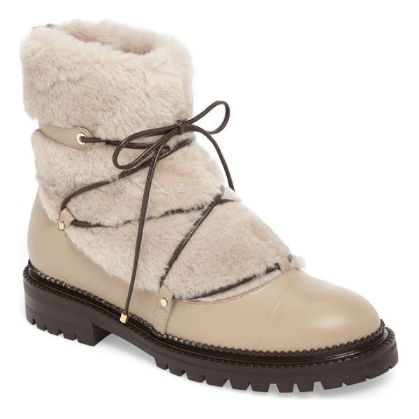 JIMMY CHOO darcie genuine shearling boot - Sure to be a favorite winter companion, this standout...