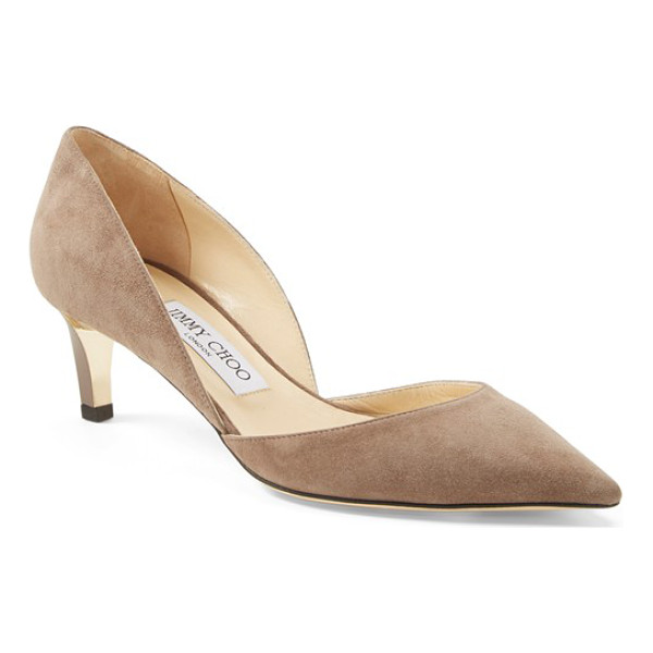 JIMMY CHOO darylin suede dorsay pump - A classic pointy-toe d'Orsay pump is modernized with a...