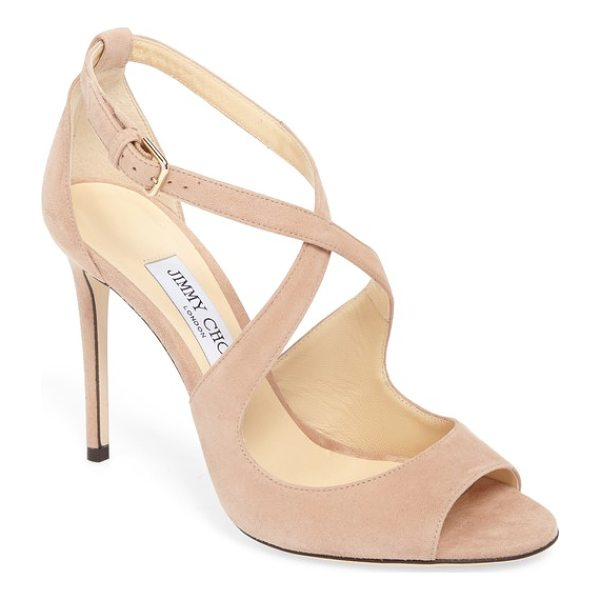 JIMMY CHOO emily peep toe sandal - A metallic finish highlights the sinuous curves of this...