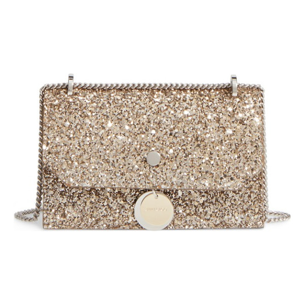 JIMMY CHOO finley shadow glitter shoulder bag - Logo-etched disk hardware in silver and golden tones echo