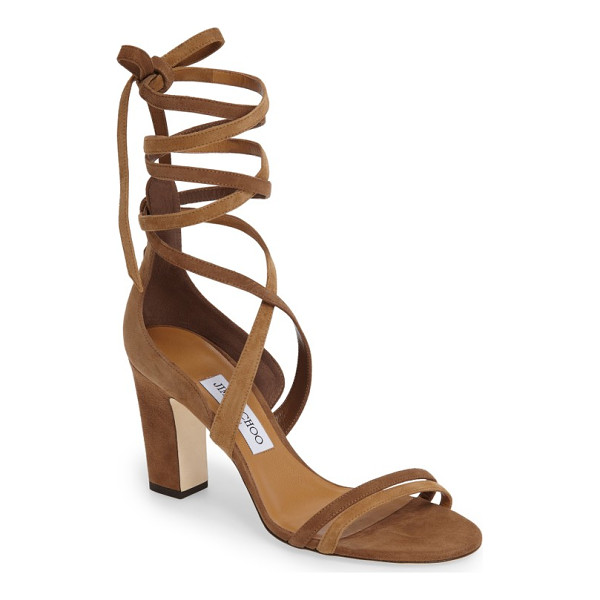 JIMMY CHOO jimmy choo flynn sandal - Sinous suede straps wrap your ankle in a scene-stealing...