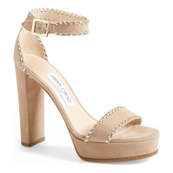JIMMY CHOO holly sandal - Delicate braided trim highlights the minimalist lines of a...