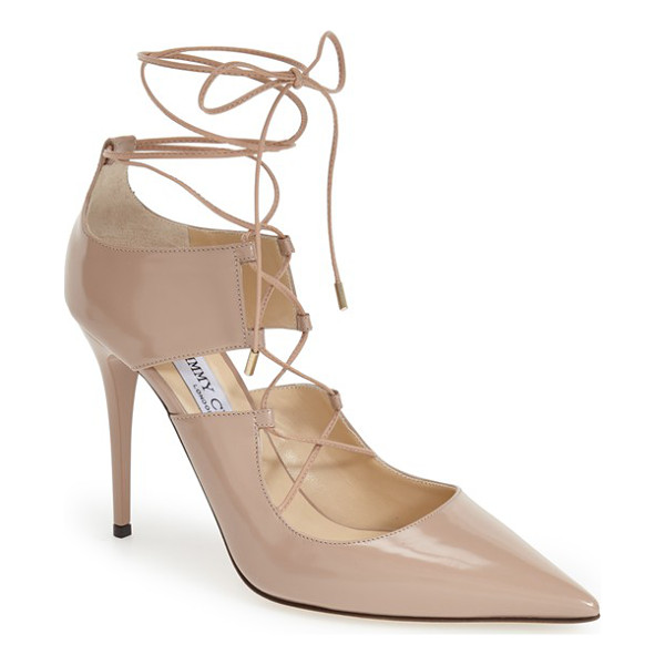 JIMMY CHOO hoops pump - A pointy-toe pump flatters the foot with corset-style nappa...