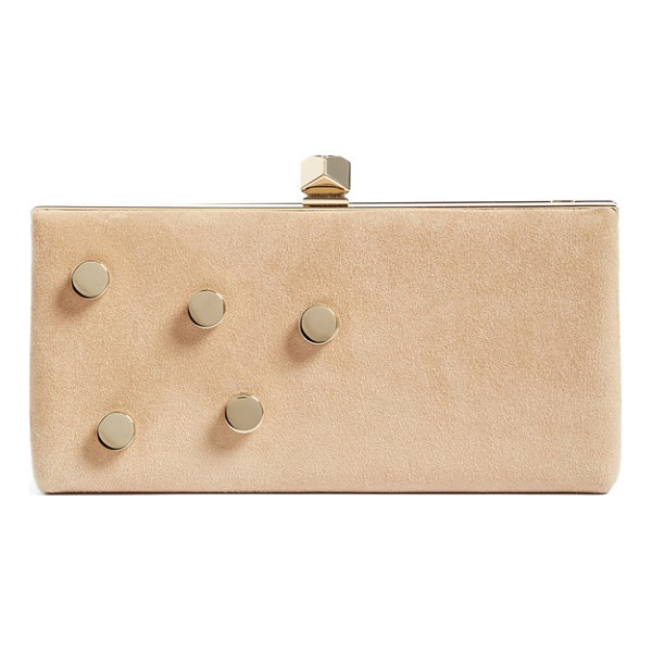 JIMMY CHOO jewelled collection celeste buttons suede clutch - A crystal-centered metal cube clasp tops a lush suede frame...