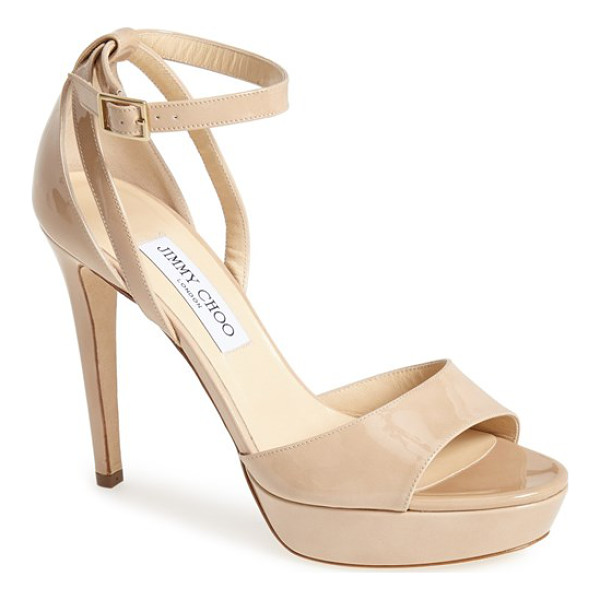 JIMMY CHOO 'kayden' ankle strap sandal - Glossy leather or buttery-soft suede polishes the look of