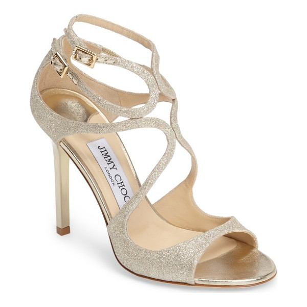 JIMMY CHOO jimmy choo lang glitter sandal - Serpentine cage straps glitter subtly from a square-heeled...