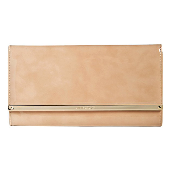 JIMMY CHOO 'large maia' patent leather clutch - Cast in high-gloss patent leather in a go-with-anything