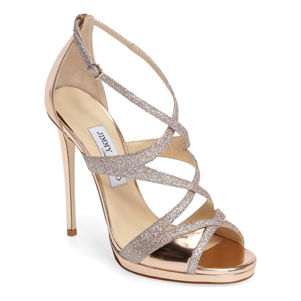JIMMY CHOO marianna sandal - Slim glitter-kissed straps curve sinously over a stunning